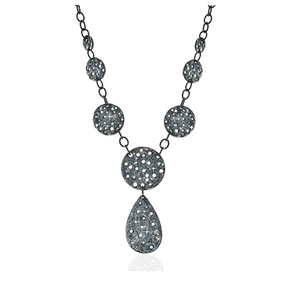 Stardust Hematite & Crystal Radiance Tear Drop Necklace