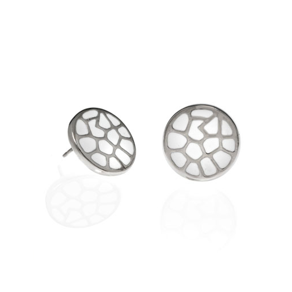 White Italian Riviera Button Earrings