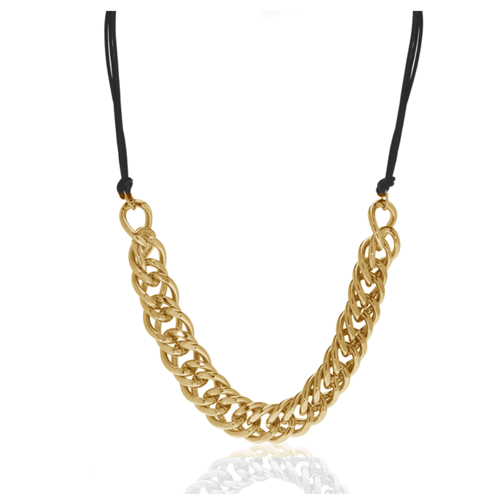 Gold Tone Curb Link And Leather Necklace