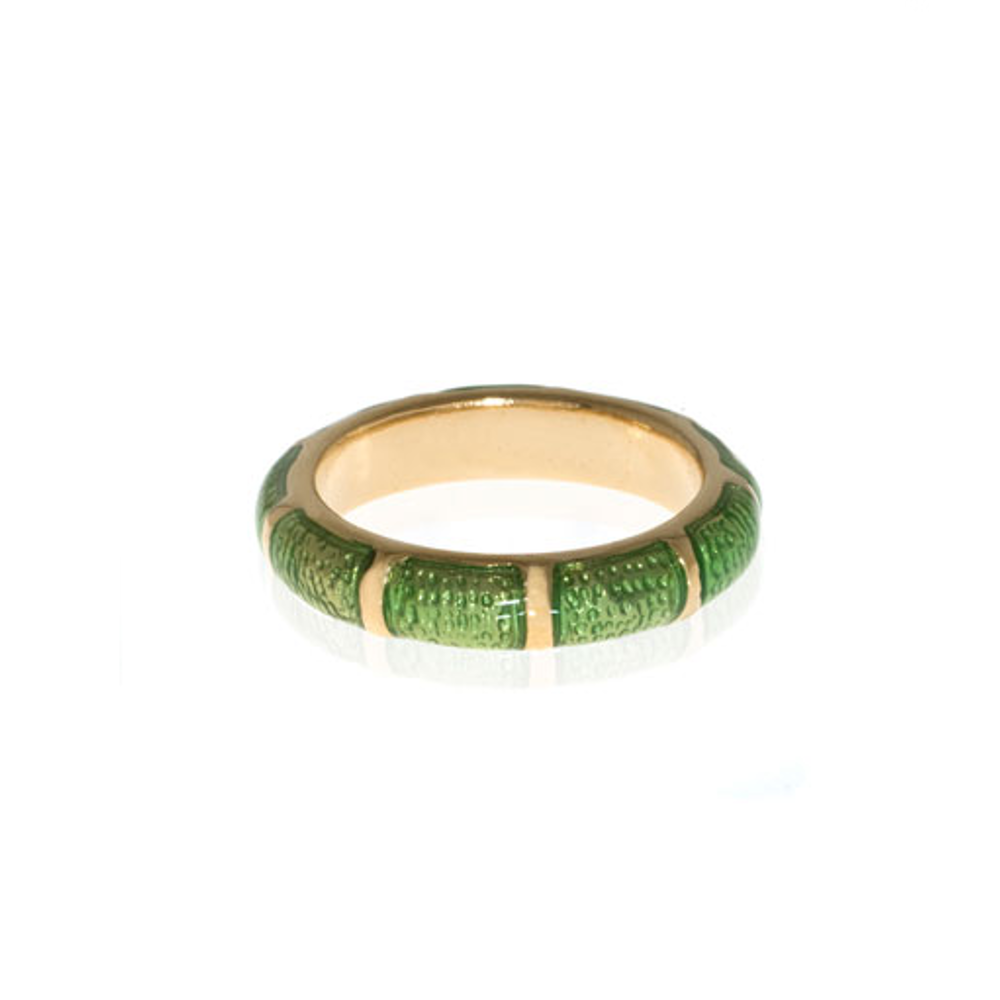 Green Snakeskin Segmented Bamboo Ring
