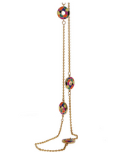 Multi Color Enameled Disc Chain Necklace