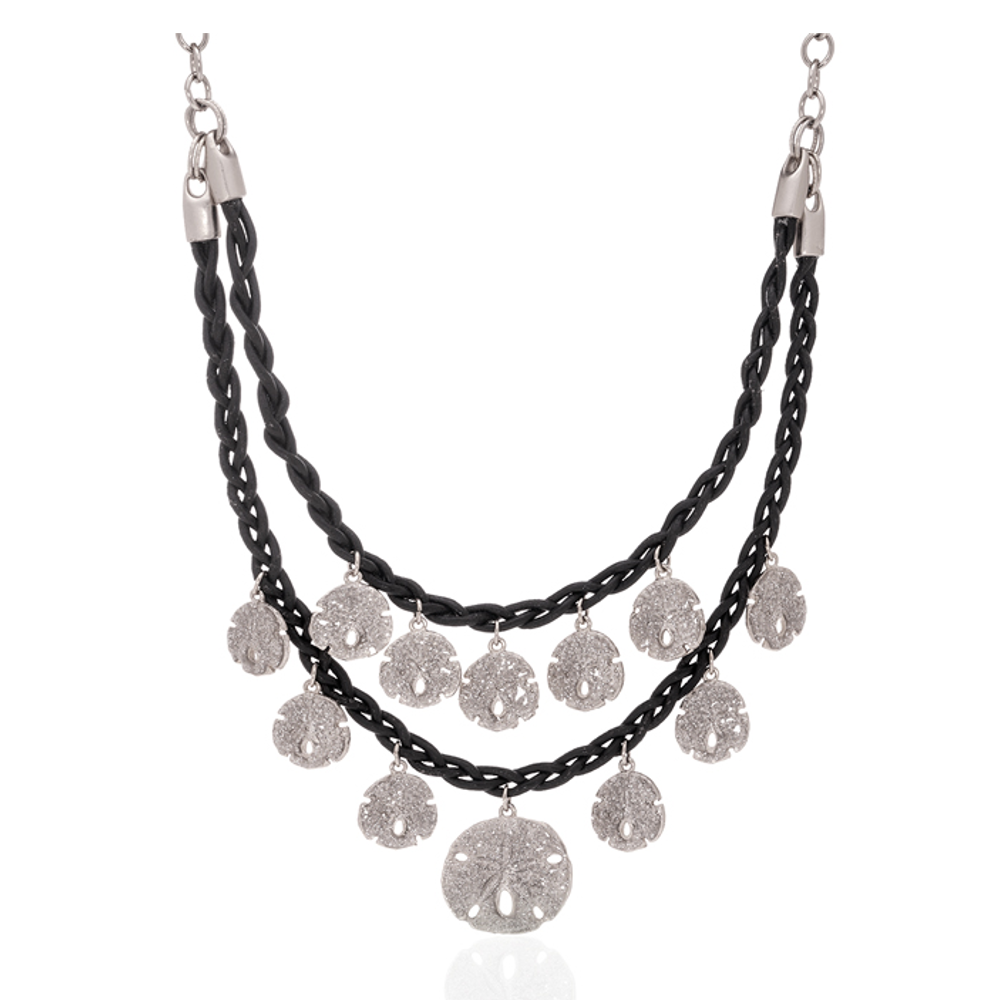 Stardust Silvertone Sand Dollar Necklace with Black cord