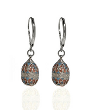St. Petersburg Pink & Blue Scroll Egg Drop Earrings