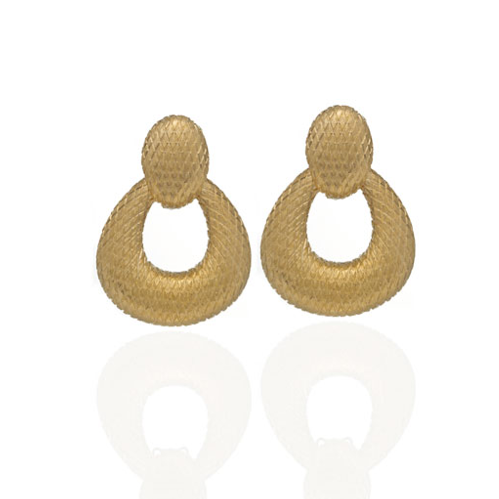 Snakeskin Gold Open Tear Drop Earrings