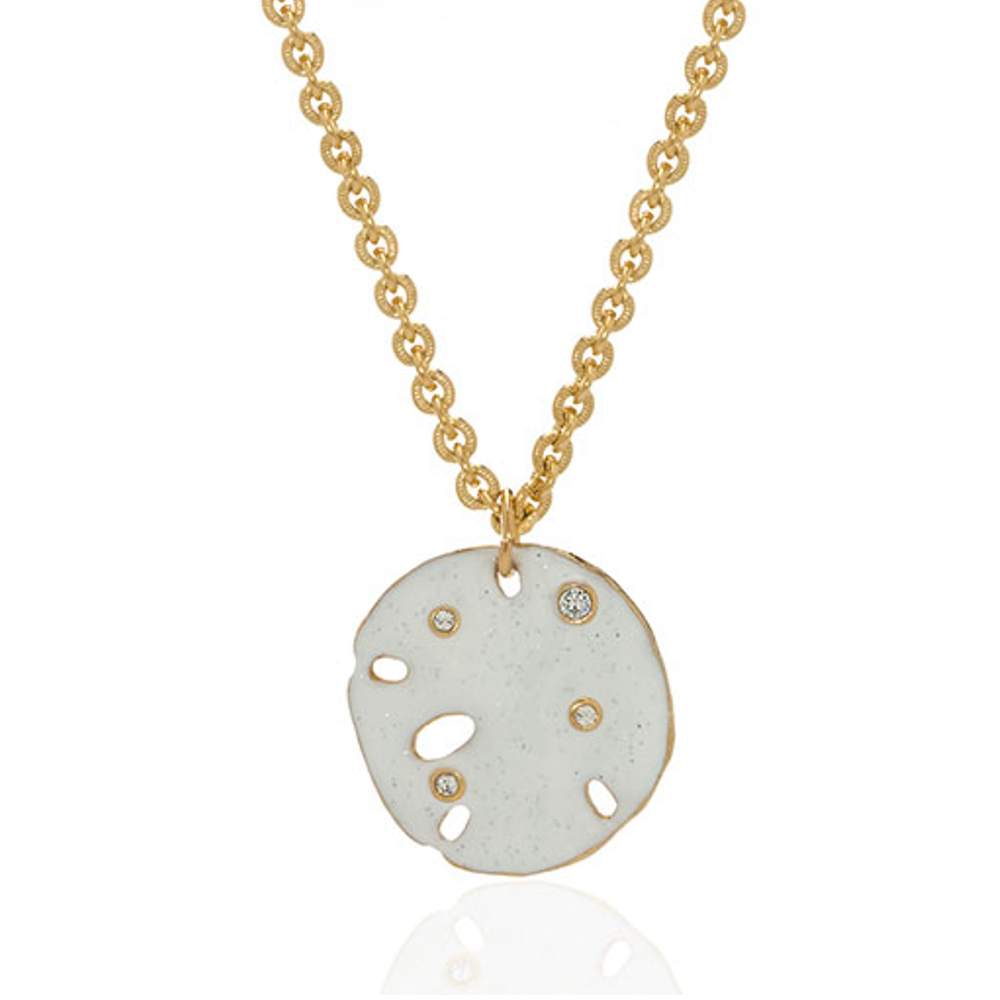 Stardust White Goldtone Sand Dollar Small Disc Necklace