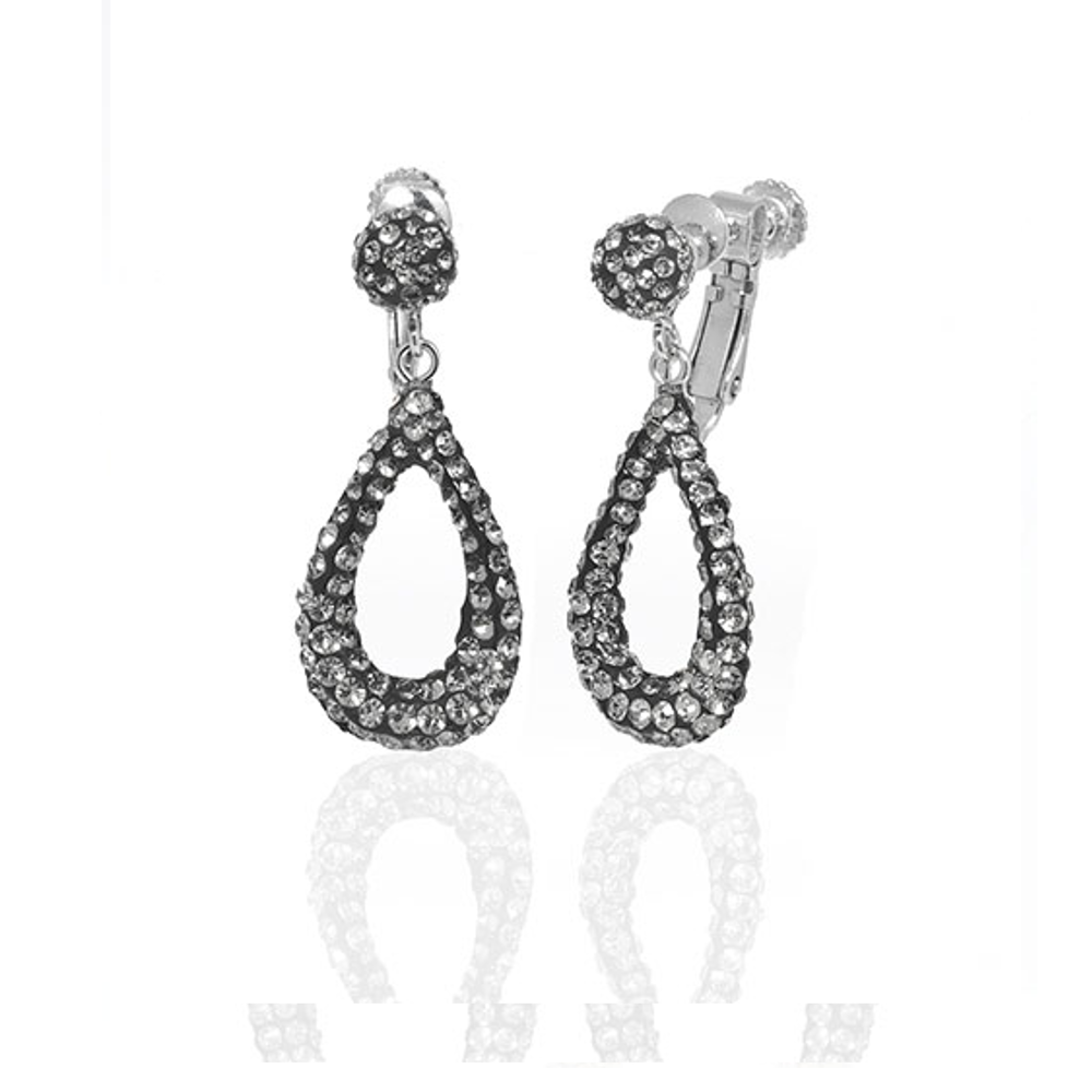 Black Diamond Small Open Tear Earrings