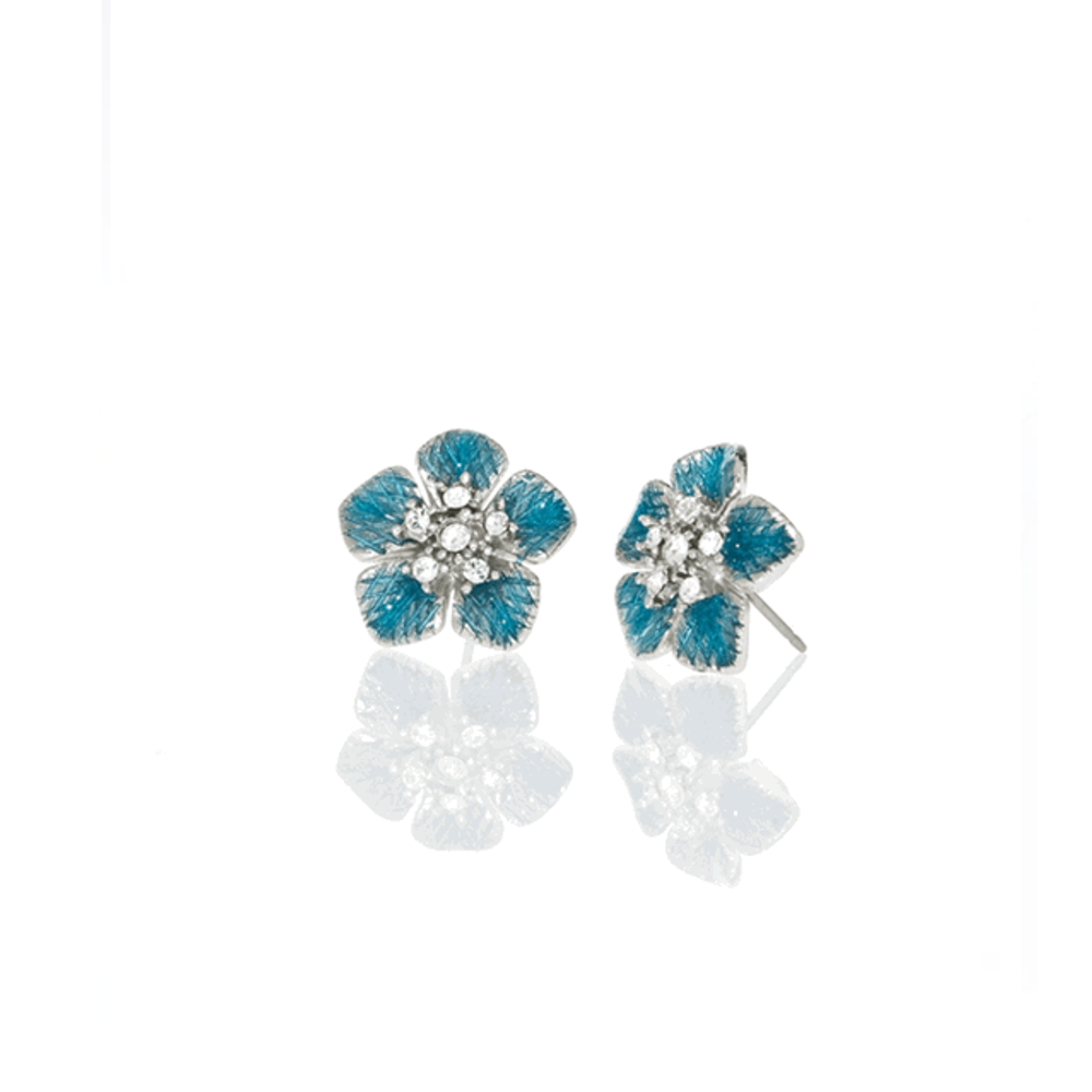 Celestial Blue Small Flower Earrings