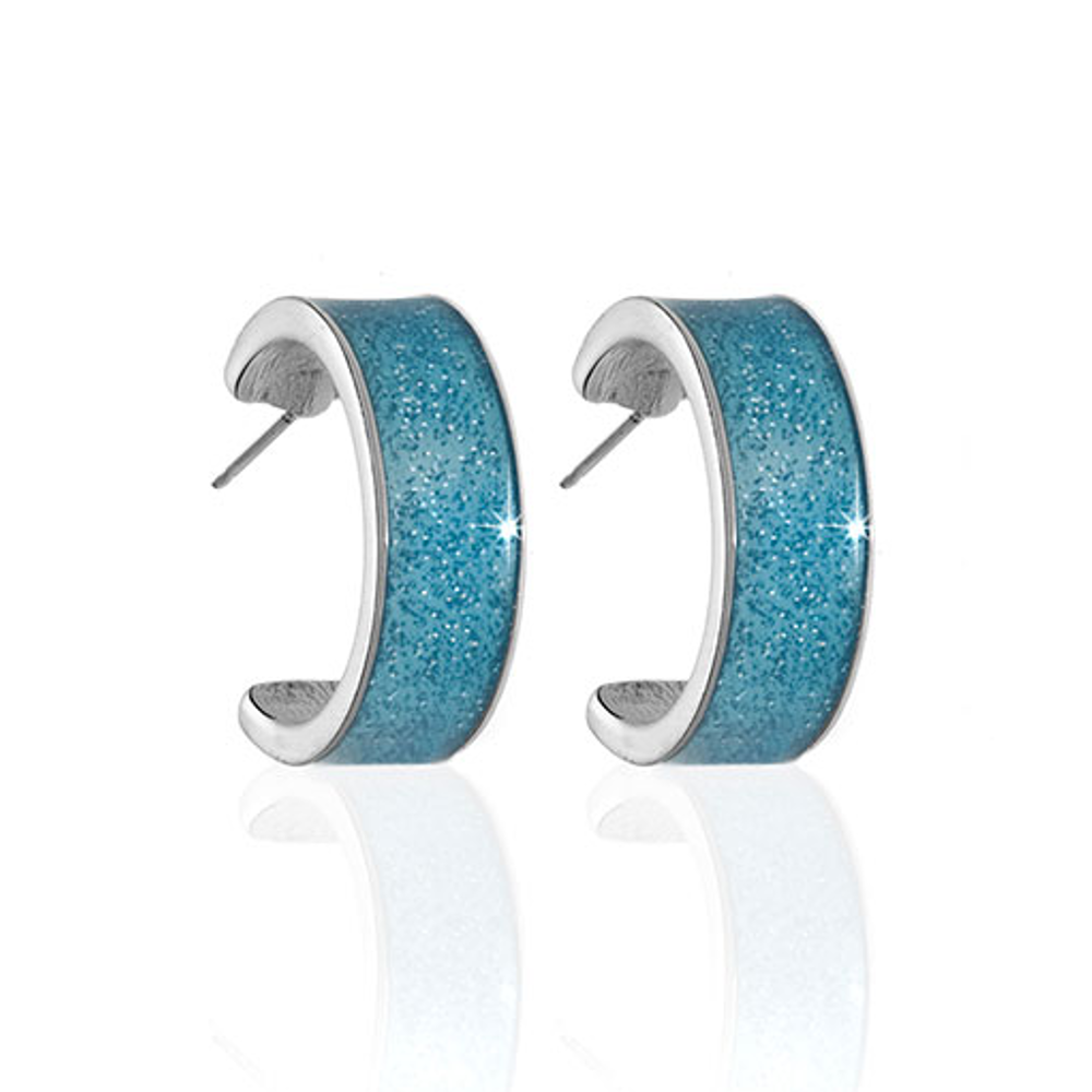 Stardust Silvertone and Aquamarine Hoop Earrings
