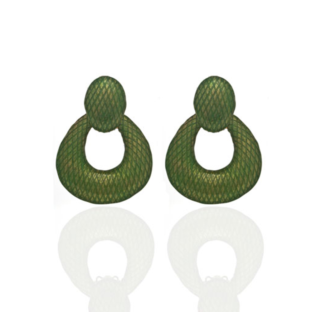 Snakeskin Green Open Tear Drop Earrings