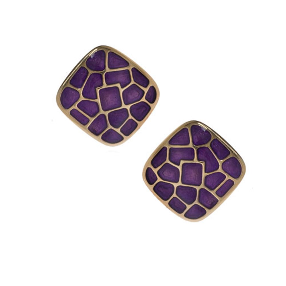 Italian Riviera Amethyst Square Button Earrings