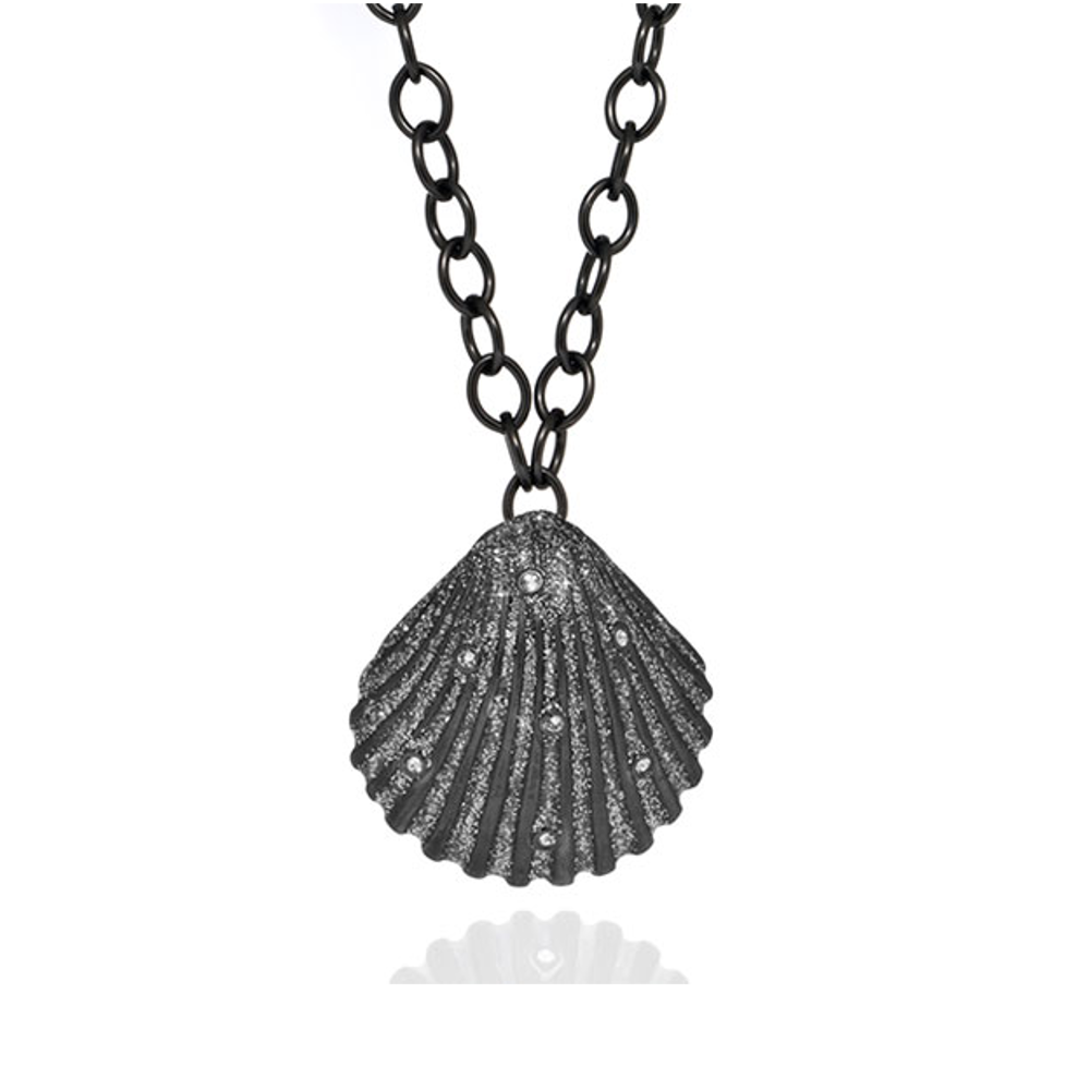 Stardust Seashell Crystal Pendant Chain Necklace