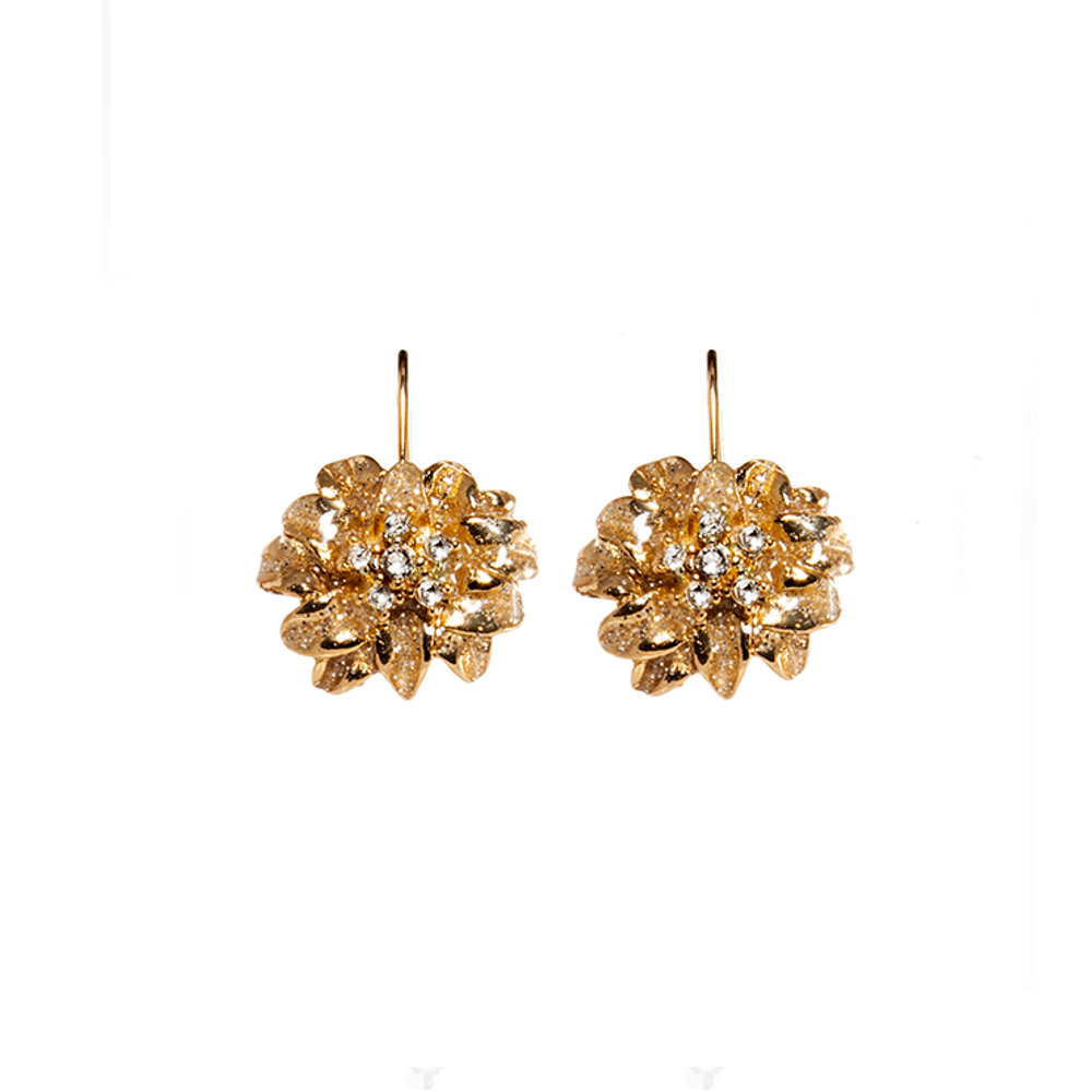 Gold Stardust Flower Euro-Wire Earring