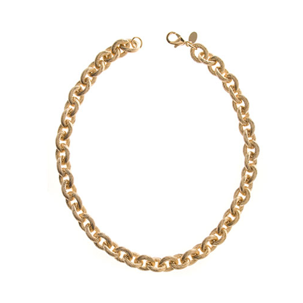 Ribbed Link Gold Tone Necklace