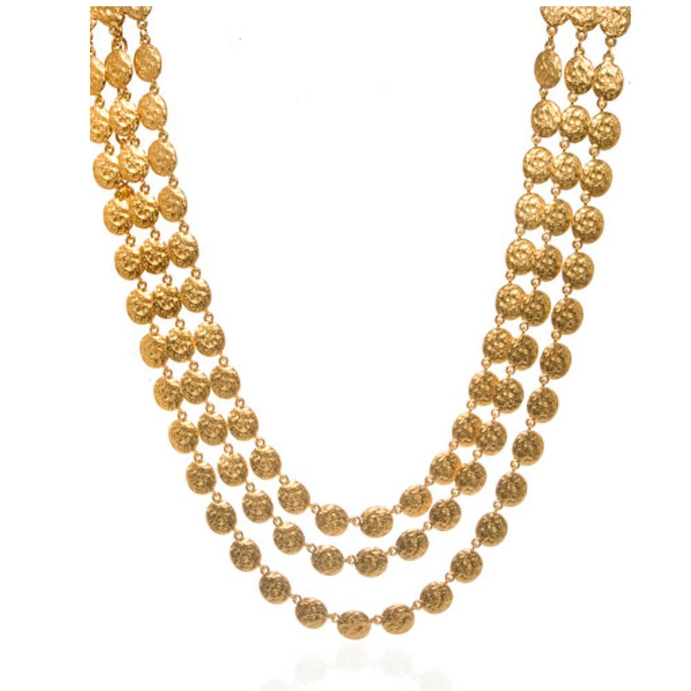 Molten Gold Three-Strand Disc Necklace