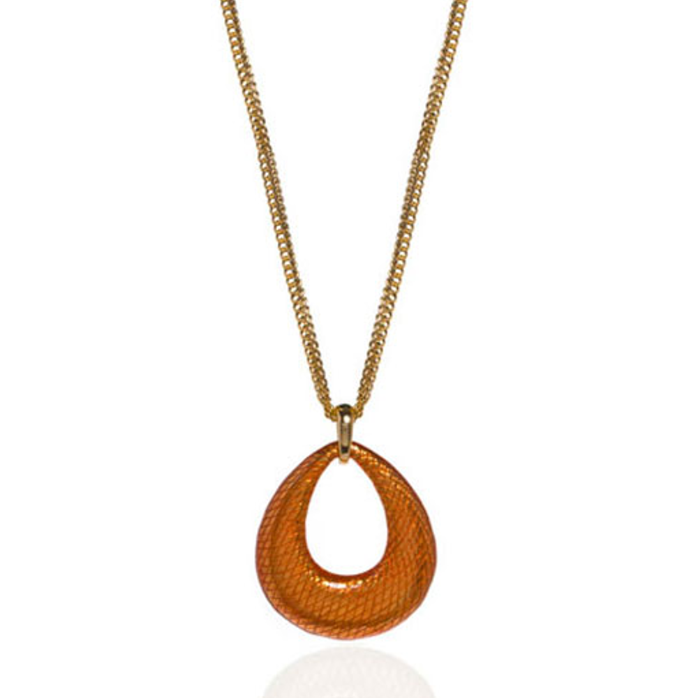 SnakeSkin Orange Open Tear Pendant Necklace