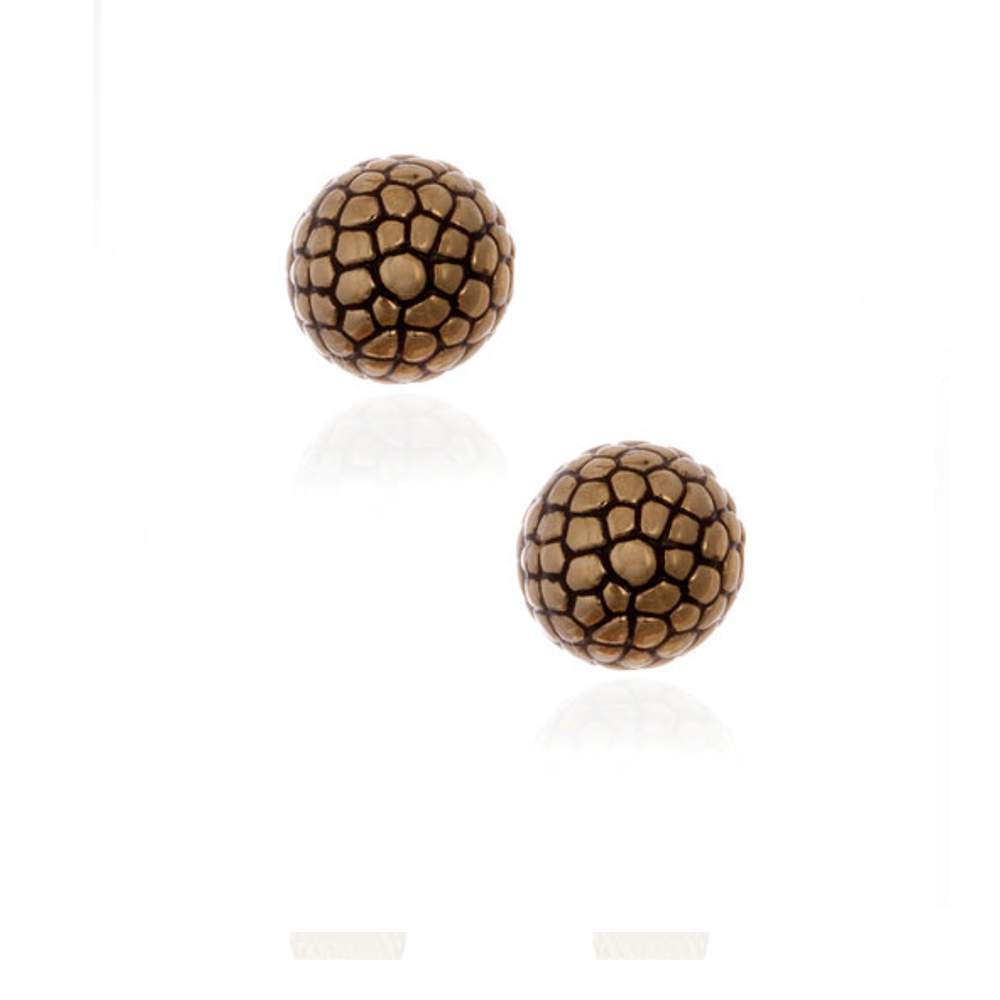 Berry Gold Tone Button Earrings