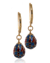 St. Petersburg Blue and Red Egg Drop Earrings