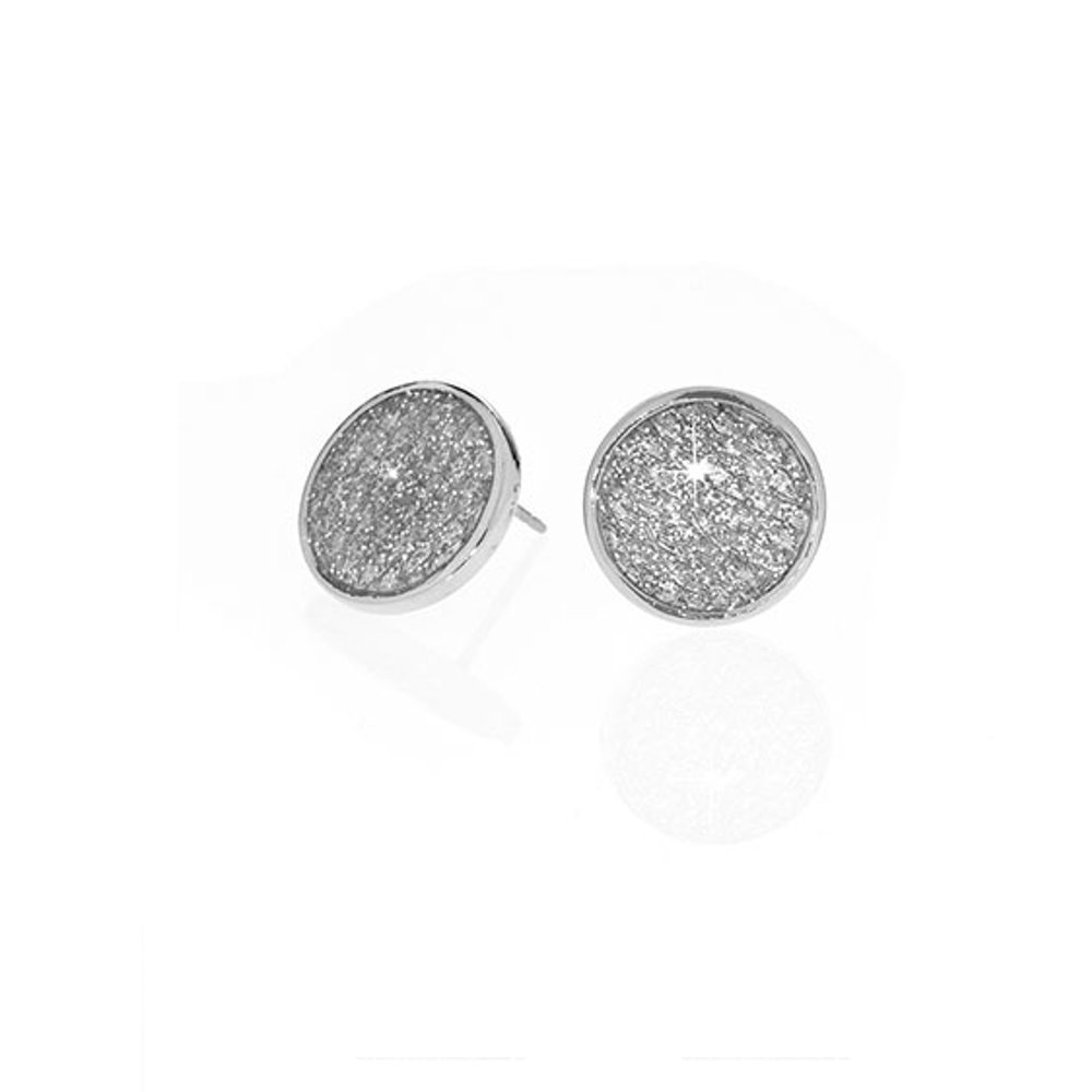 Stardust Silver Snakeskin Button Earrings