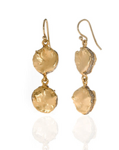 Matte Gold Tone Double Drop Earring on French Wire
