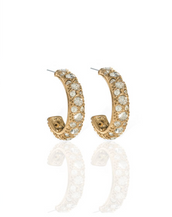 Gold Tone Double Crystal Hoop Earrings
