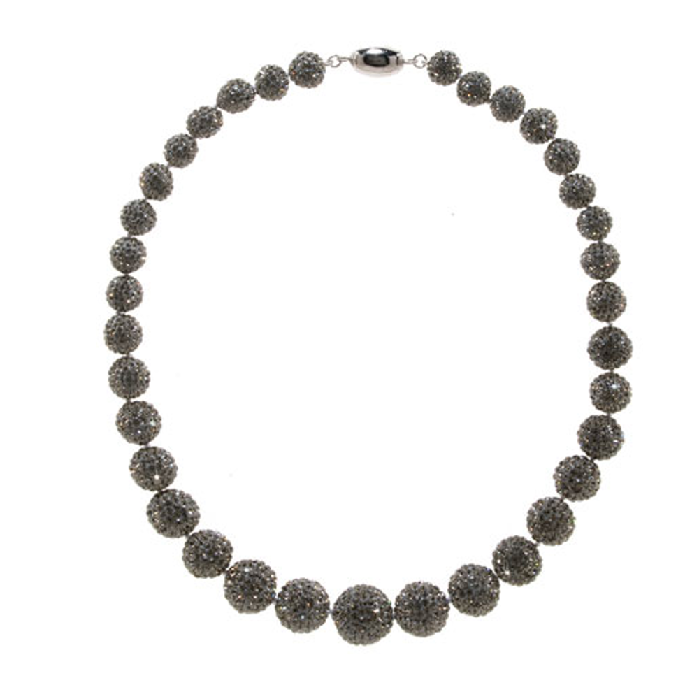 Graduated Black Diamond Crystal Ball Collar Necklace