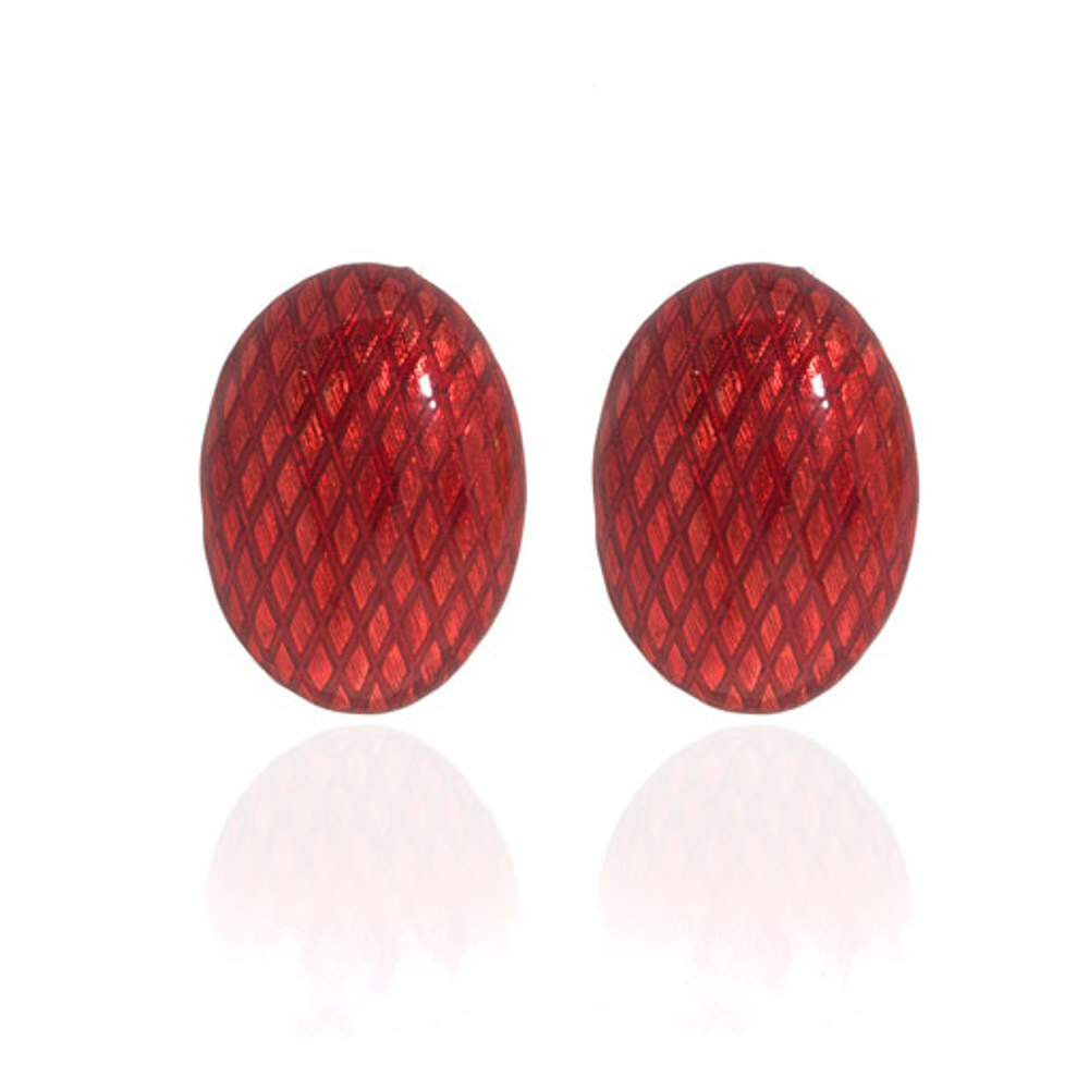 Snakeskin Red Button Earrings