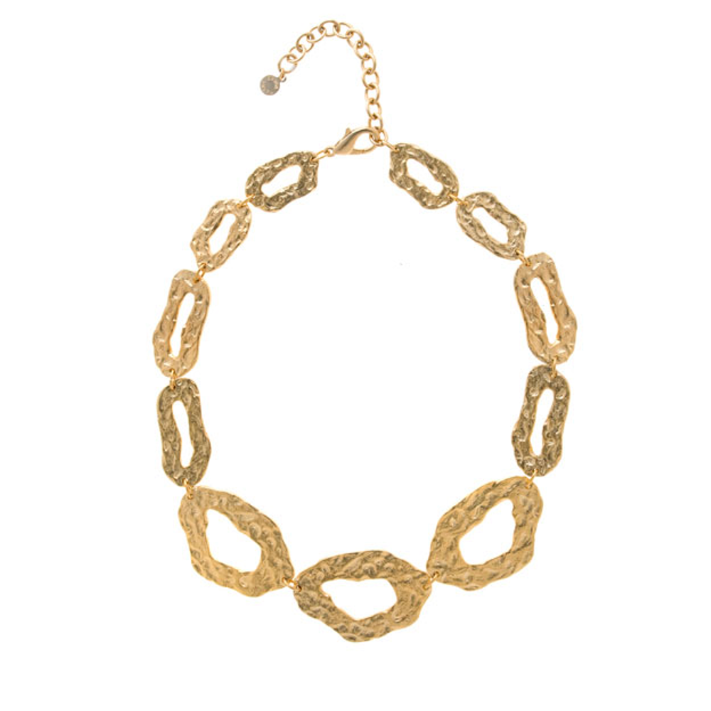 Molten Gold Long Open Oval Collar Necklace