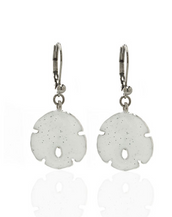 Stardust White Small Silvertone Sand Dollar Earrings