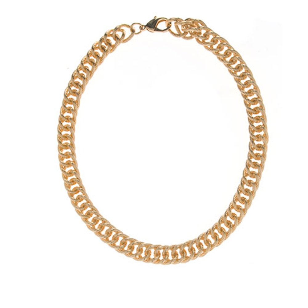 Ridged Curb Link Goldtone Necklace
