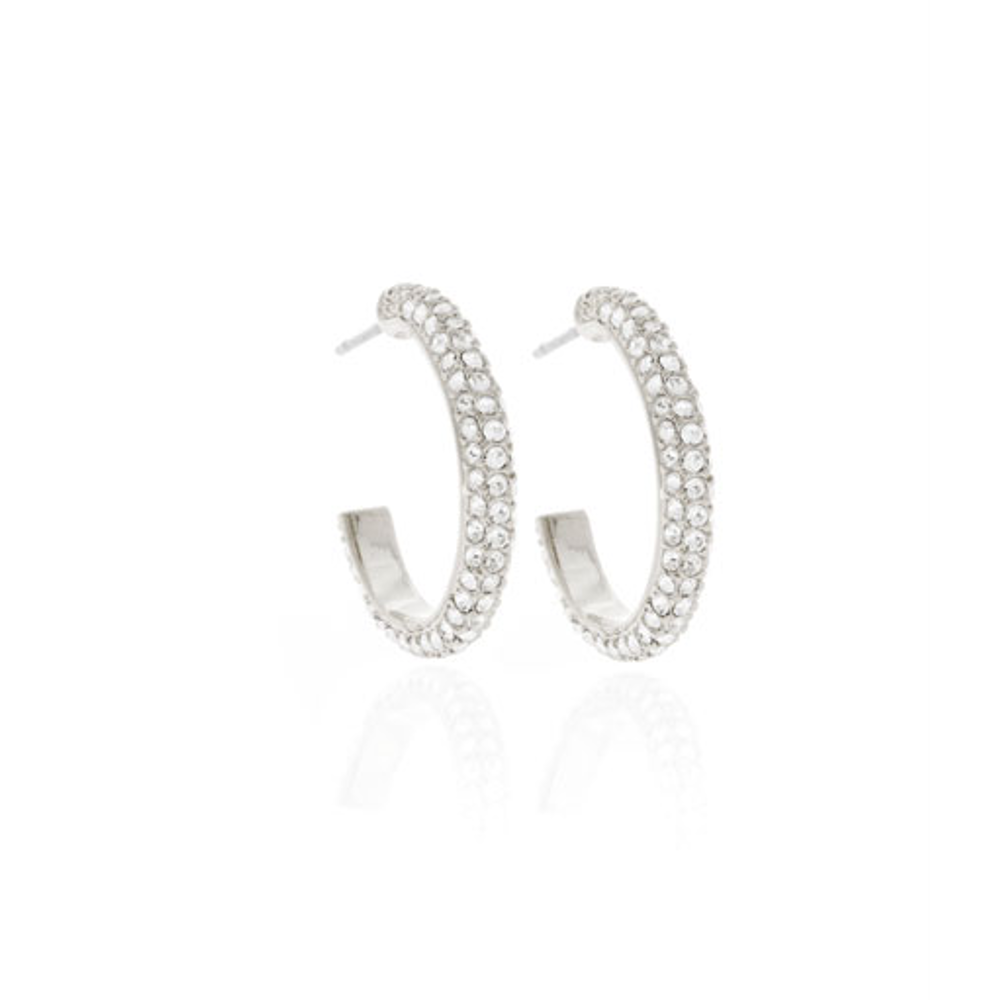 Silver Tone Austrian Crystal Hoop Earrings