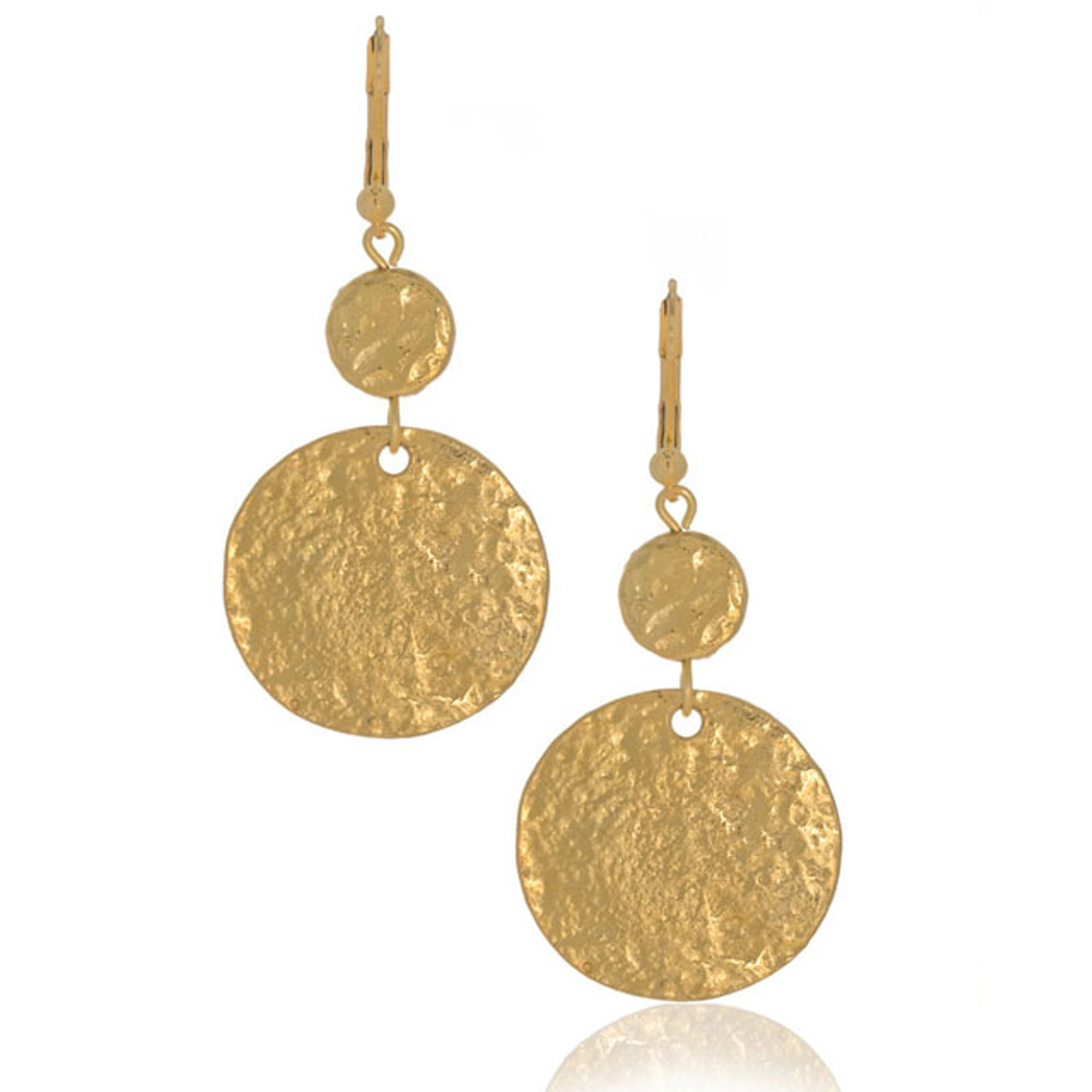 Molten Gold Double Disc Drop Earring