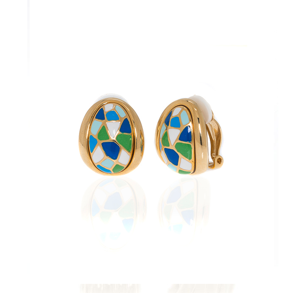 Goldtone Multi Color Blue green Earrings