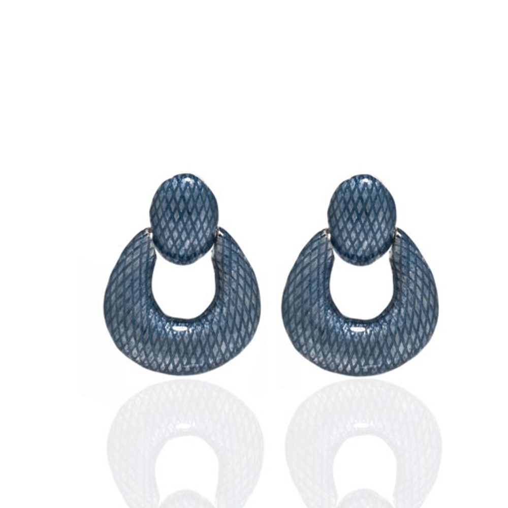Snakeskin Blue Open Tear Drop Earrings