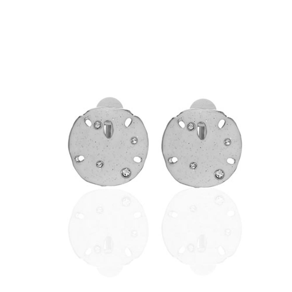 Stardust White Large Silvertone Sand Dollar Clip Earrings
