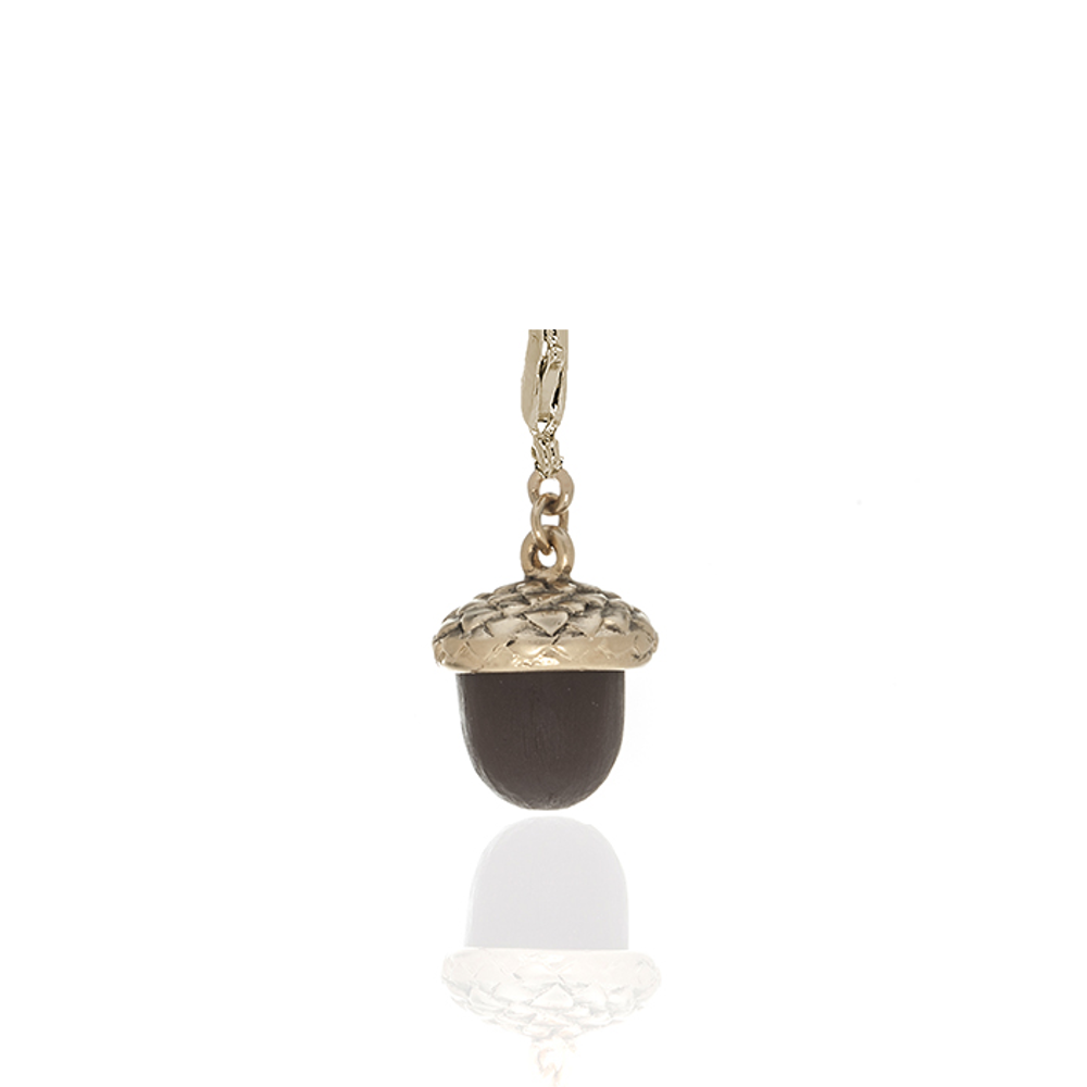 Winter in the Garden Brown Acorn Charm with Lobster Claw