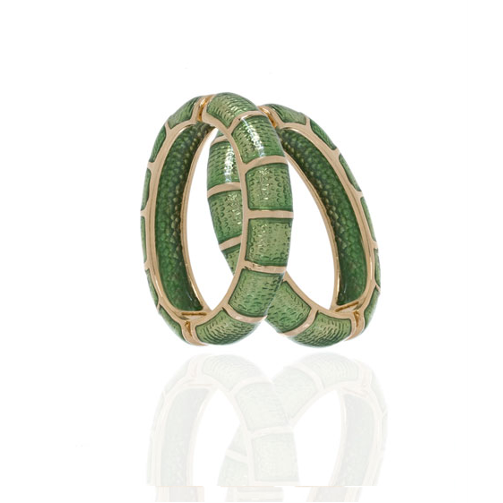 Segmented Green Hoop-Eze Earrings