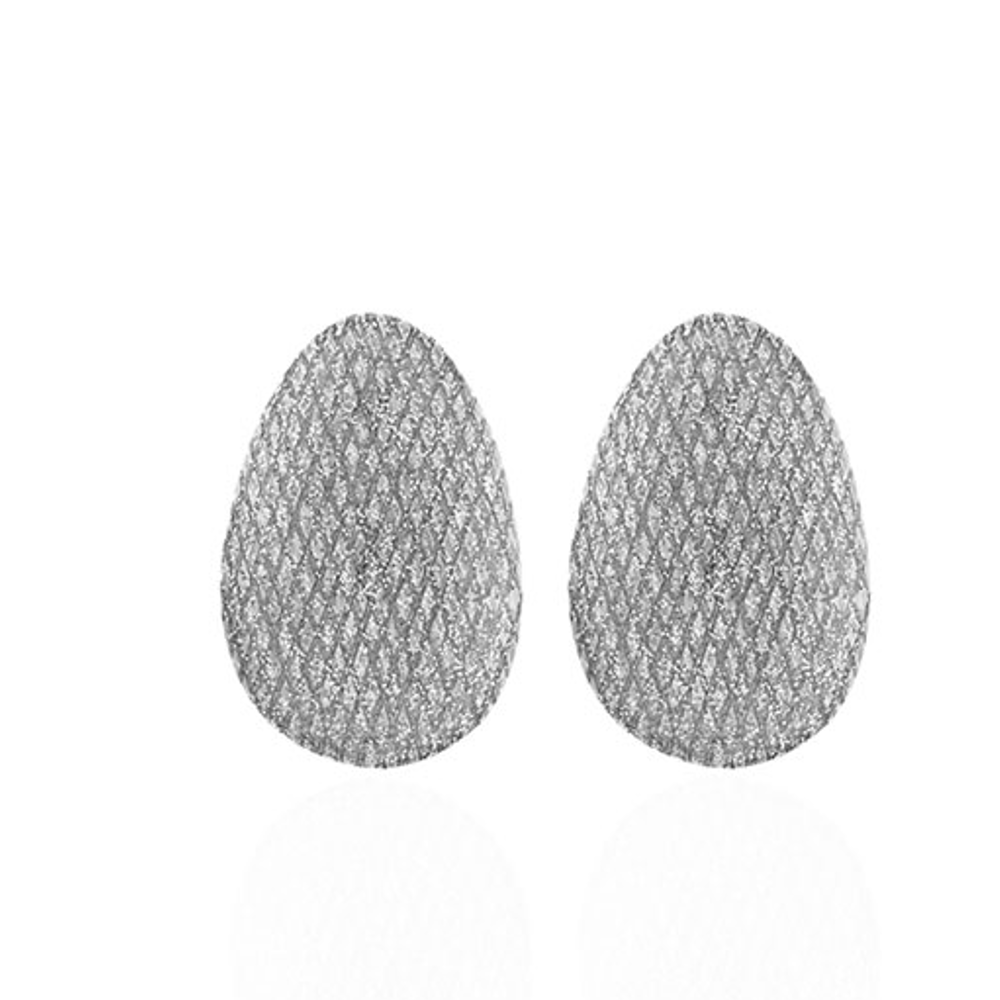 Stardust Silvertone Button Earring