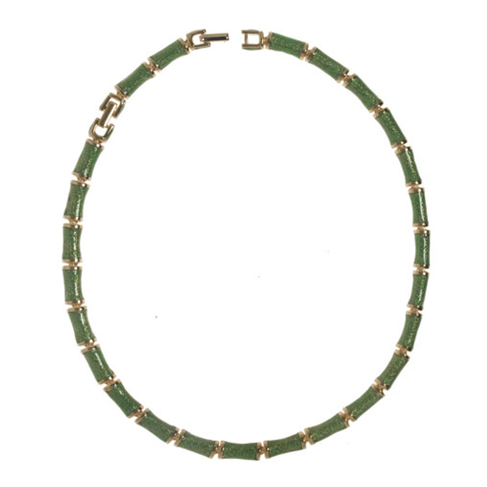 Green Snakeskin Segmented Bamboo Necklace