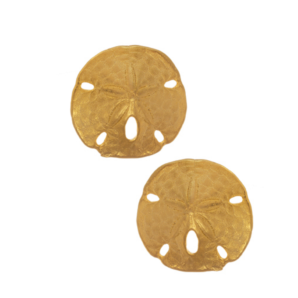Sand Dollar Large Disc Button Earrings
