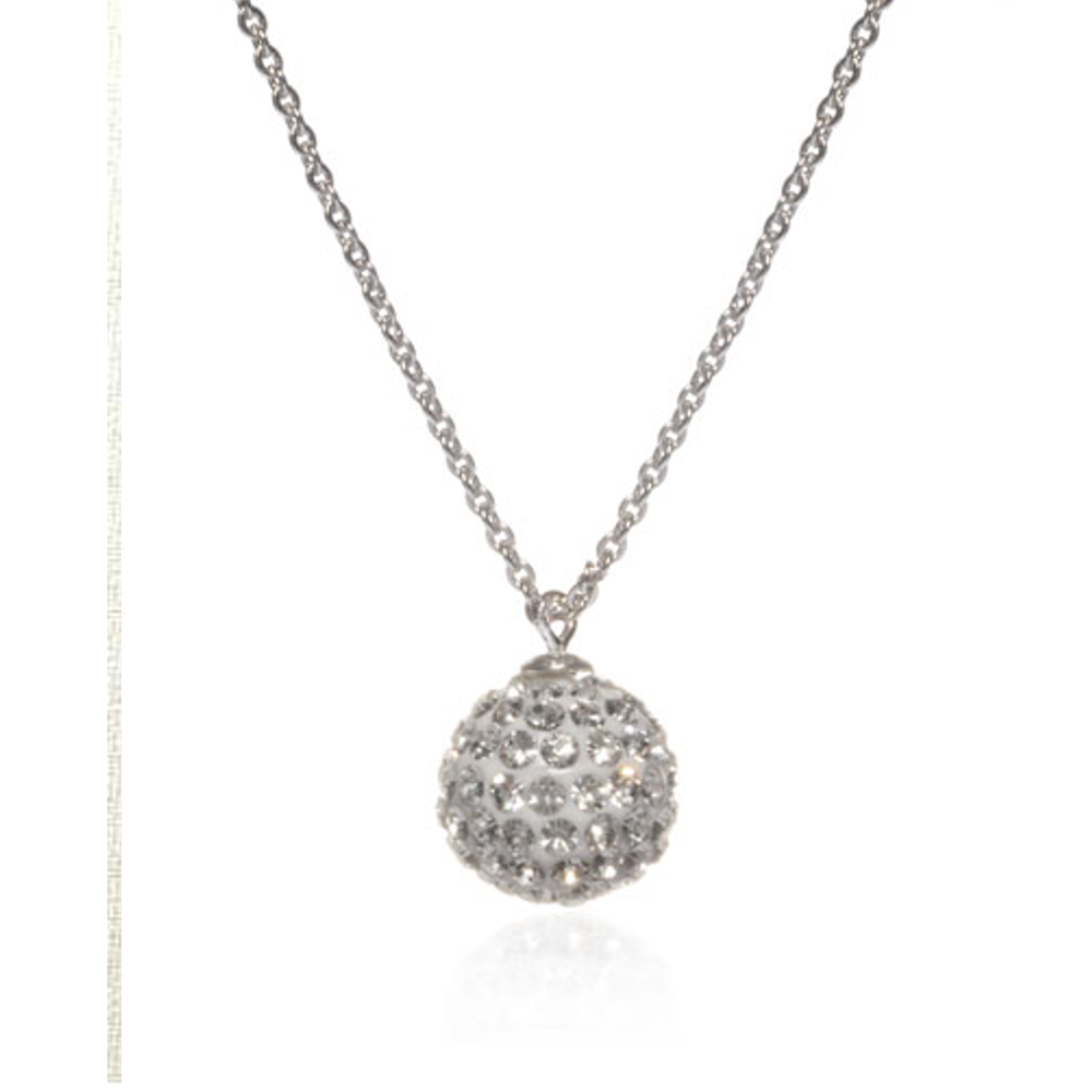 crystal silver chanel cc necklace ball