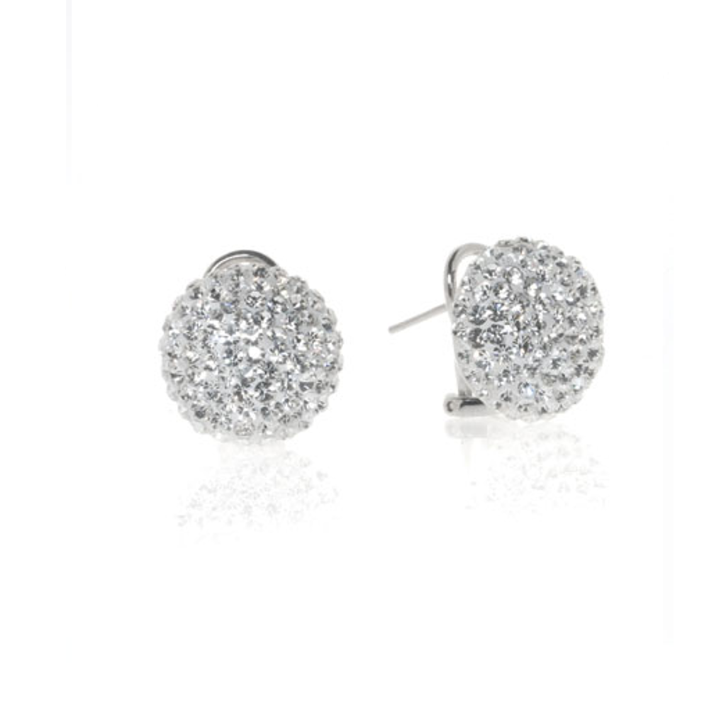 Clear Crystal Ball Omega Button Earrings