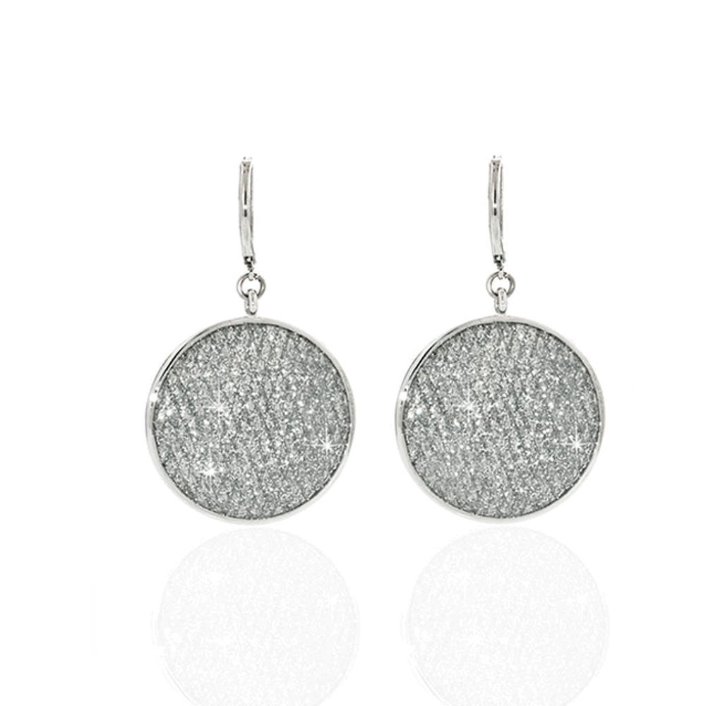 Stardust Large Silver Snakeskin Disc Earrings