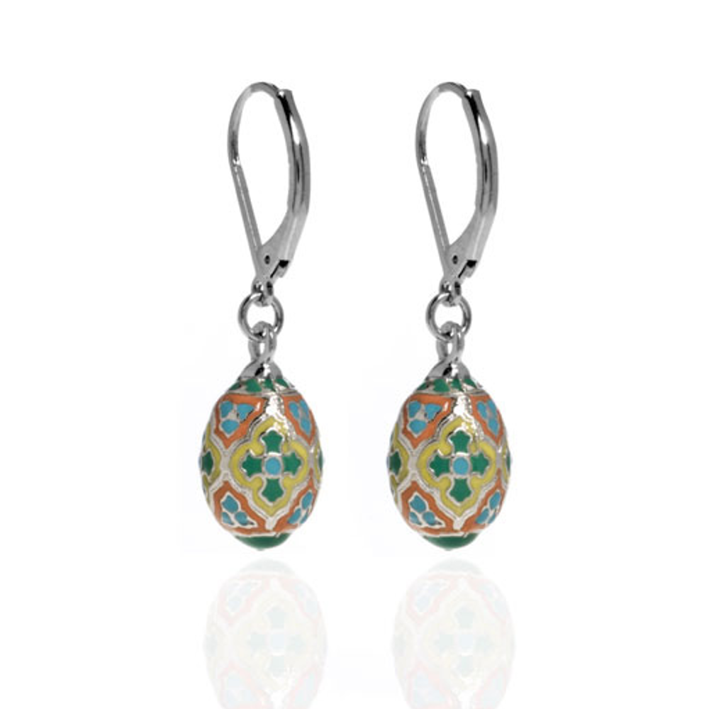 St. Petersburg Green & Blue Cross Egg Drop Earrings
