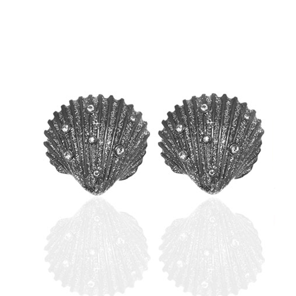 Stardust Seashell Crystal Button Earrings