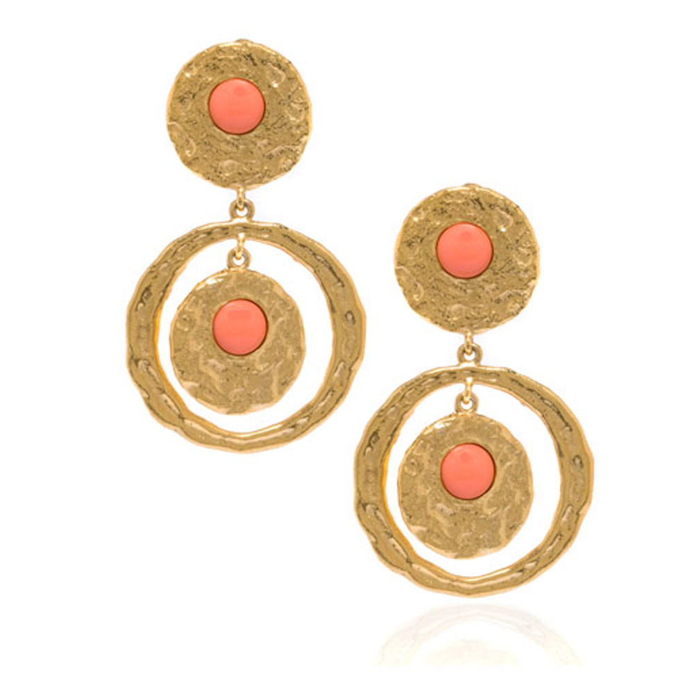Molten Gold Coral Disc & Circle Drop Earrings
