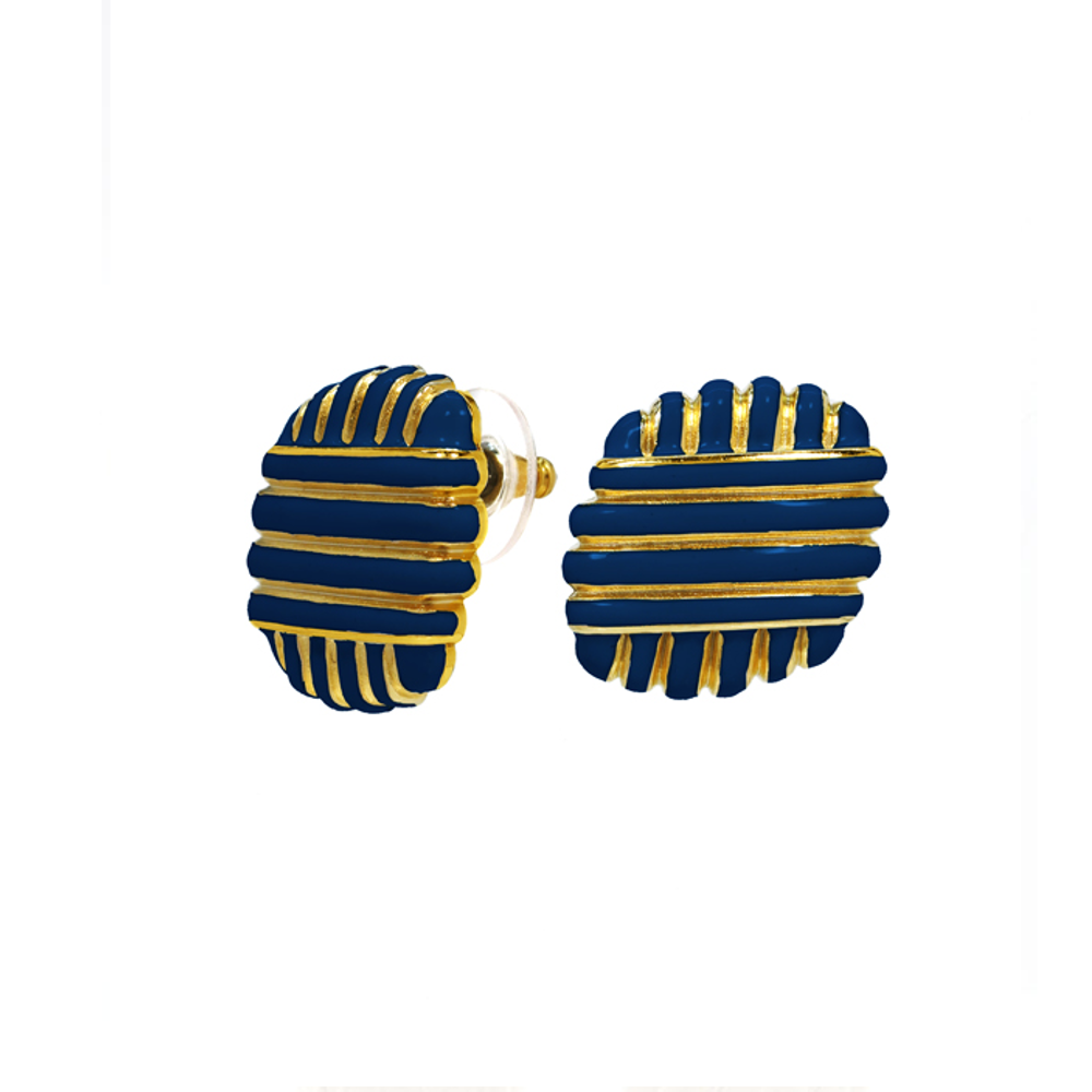 Goldtone Navy Enamel Earring