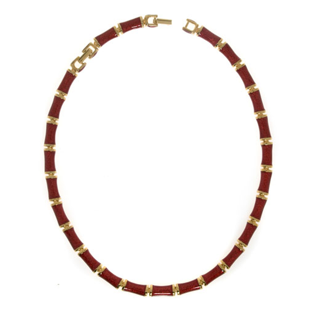 Red Snakeskin Segmented Bamboo Necklace