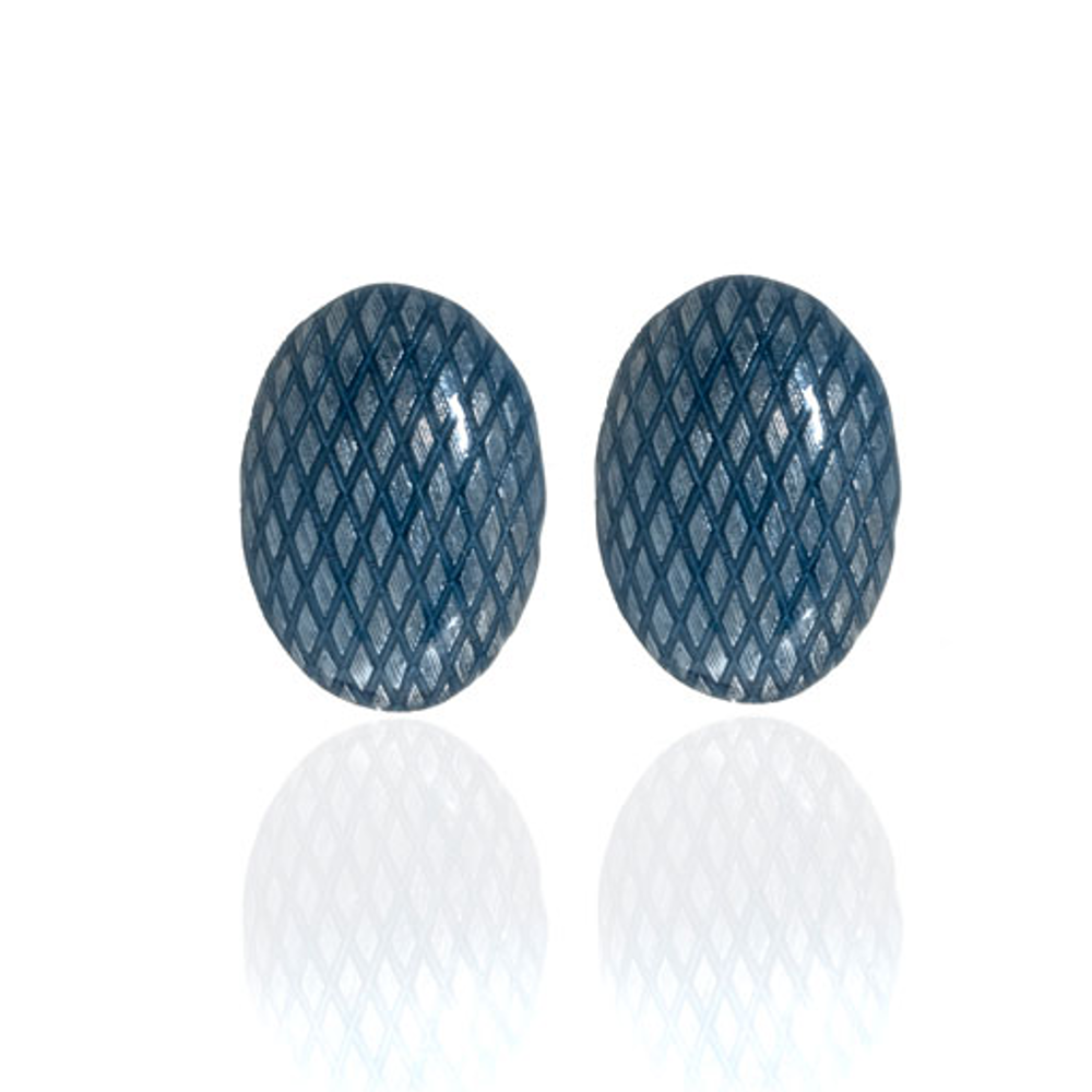Snakeskin Blue Button Earrings