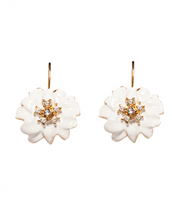 White Flower Euro-Wire Earring