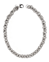 Ribbed Link Silver Tone Necklace
